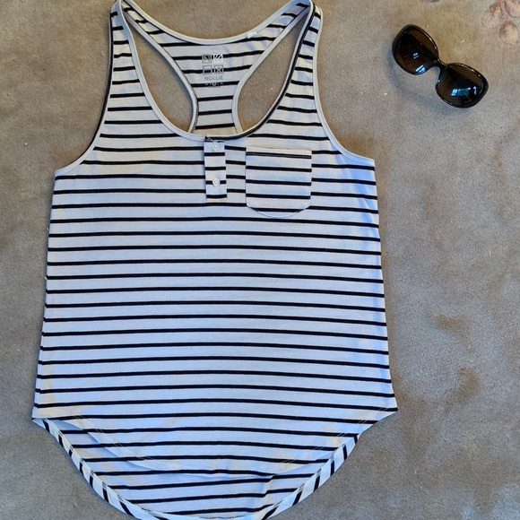 Nollie Tops - Black and white striped tank